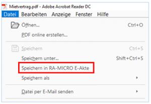 RA-MICRO Adobe Schnittstelle