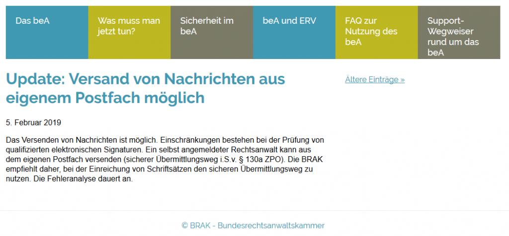 beA Störung Prüfung qualifizierter elektronischer Signaturen 05.02.2019